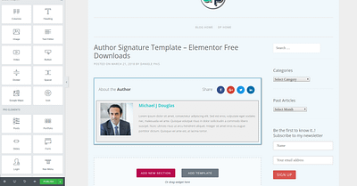 Author Signature Template – Elementor Free Downloads