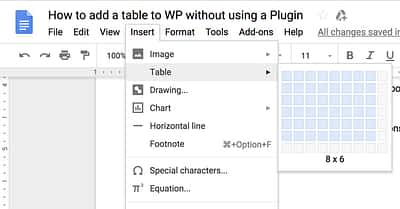 How to Insert A Table In WordPress Without Writing Code
