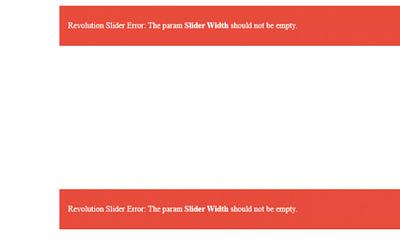 Revolution Slider Error : the param slider width should not be empty